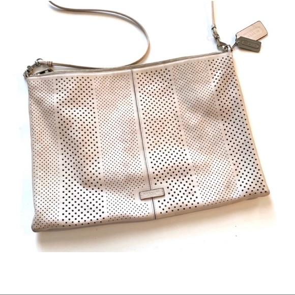 Coach Handbags - Coach Ivory Convertible Pouch Clutch Crossbody Bag